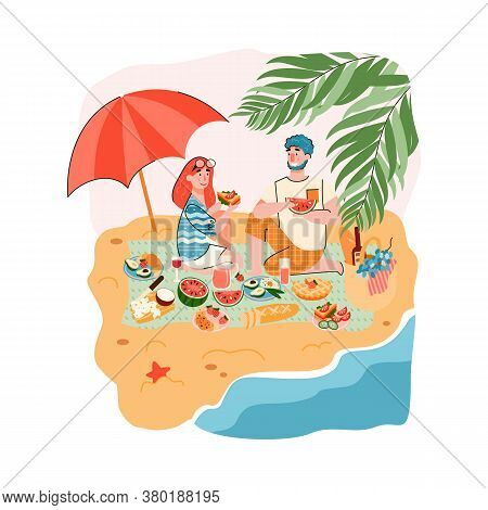 Scene Of Couple Or Friends Picnic On Seashore With Man And Woman Characters Enjoying Eating Out On B