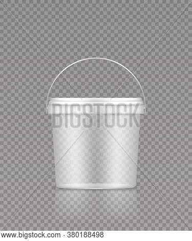 Empty Transparent Bucket With Handle Mockup For Ice Cream, Yoghurt, Mayo, Paint, Or Putty