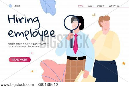 Recruiting And Hiring Employee Web Site With Hr Managers Or Recruiters Watching Through Huge Magnifi