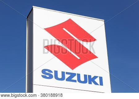 Macon, France - March 15, 2020: Suzuki Logo On A Panel. Suzuki Is A Japanese Multinational Corporati