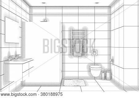 3d Illustration. Sketch Of A Showerroom. Front View