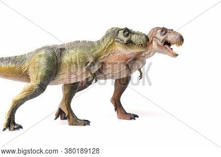 Two Tyrannosaurus Rex Dinosaurs Toy Brown And Green Isolated On White Background. Closeup Dinosaur A