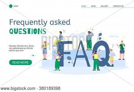Website Banner Of Find The Right Answer To All Questions Or Faq With People Standing Around Big Faq
