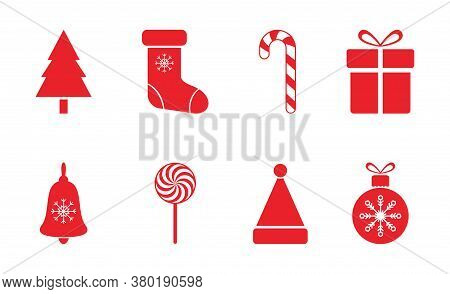 Christmas Red Icon Set. Merry Christmas Decoration Elements With Snowflakes, Santa Hat, Christmas Tr