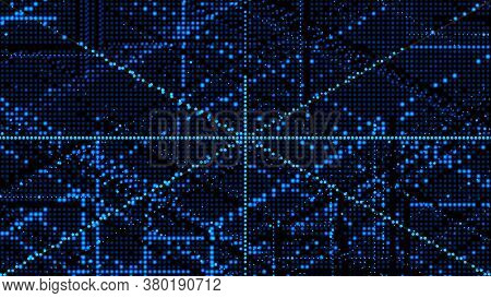 Cybernetic Futuristic Background. Matrix. Big Data. Abstract Perspective Illustration. 3d Rendering.