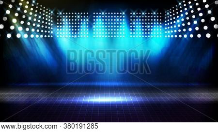 Abstract Futuristic Background Of Blue Empty Stage Arena Stadium Spotlgiht Stage Background
