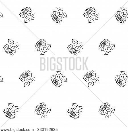 Sunflower Plant Sketch Seamless Pattern. Hand Drawn Ink Art Design Element Object Isolated Stock Vec