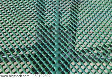 Green Close-up Angle Outdoors Metal Perforated Picnic Table Suitable For Website Marketing Backgroun