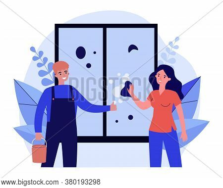Woman Washing Window. Cleaning Service Worker In Overall And Bucket Flat Vector Illustration. Hygien