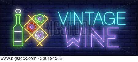 Vintage Wine Neon Text And Bottles On Racks. Winery, Wine Cellar Or Advertisement Design. Night Brig