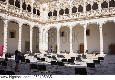 Valladolid, Spain - July 19th, 2020: Colegio De San Gregorio Courtyard. Isabelline Style Building No
