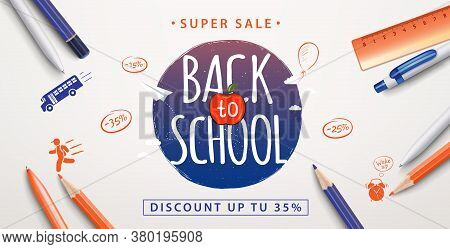 Back To School Sale Poster. Education Background