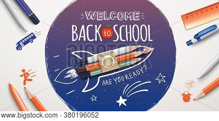 Welcome Back To School Text Drawing With School Items And Elements. Welcome Back To School Poster. V