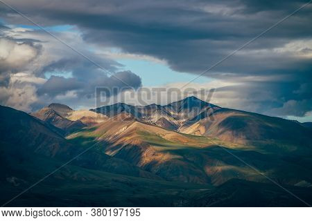 Awesome Highland Landscape With Great Mountains And Blue Clearance In Cloudy Sky In Overcast Weather