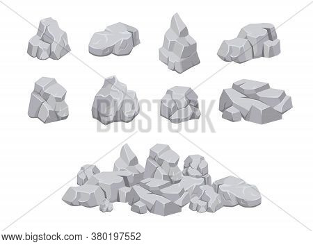 Pieces Of Rock Set. Heaps Of Natural Stone Rocks Isolated On White Background. Piles Of Grey Boulder