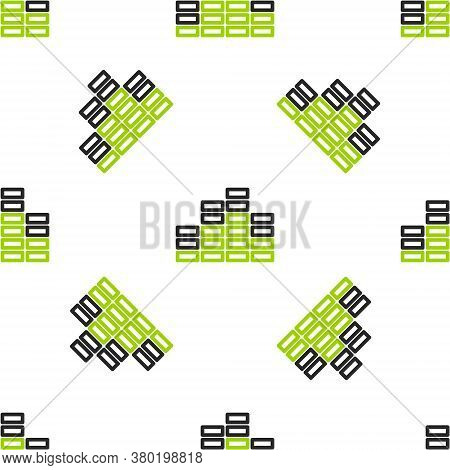 Line Music Equalizer Icon Isolated Seamless Pattern On White Background. Sound Wave. Audio Digital E