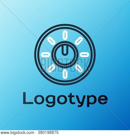 Line Dial Knob Level Technology Settings Icon Isolated On Blue Background. Volume Button, Sound Cont