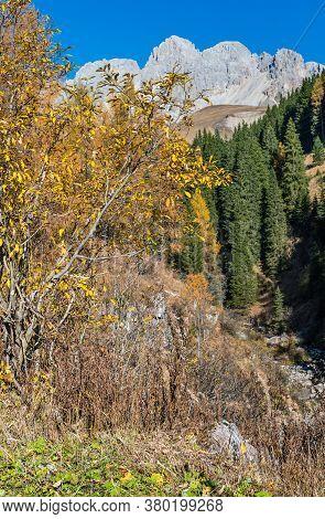 Autumn Dolomites Mountain Tops View From San Pellegrino Pass Environs, Trentino, Dolomites Alps, Ita