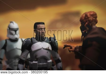 AUGUST 2 2020: Scene from Star Wars Attack of the Clones with Jedi Master Plo Koon and his Clone Commander Wolffe on Geonosis - Hasbro action figures