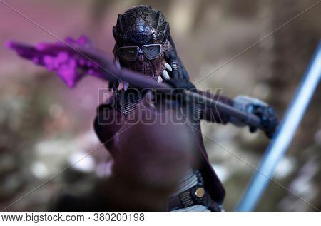 AUGUST 2 2020: Scene from Star Wars The Clone Wars - pirate Hondo Ohnaka fighting Anakin Skywalker - Hasbro action figures