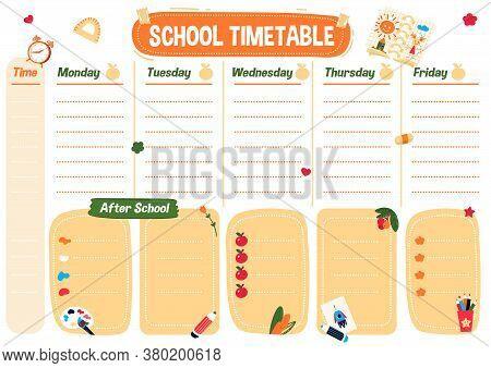 School Planning List. Printable Art Timetable For Kids And Student. Weekly Schedule For Lessons And