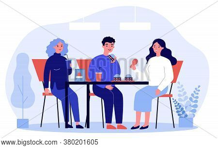 People Eating Fast Food. Restaurant Customers Eating Burgers At Table Flat Vector Illustration. Junk