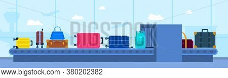 Cartoon Color Luggage Airport Carousel Concept Flat Design Style Include Of Bag And Suitcase. Vector