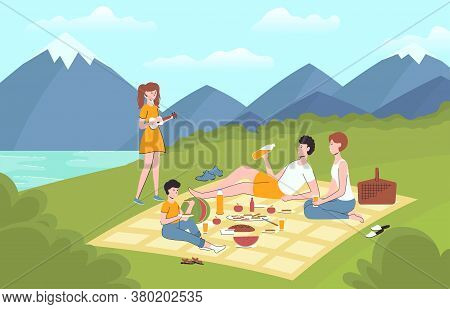 Cartoon Color Characters People Family Relaxing Together Picnic Weekend Landscape Scene Concept Flat