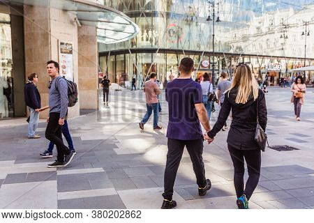 Budapest, Hungary. October 2019: Tourists And Visitors On The Vorosmarty Square In Budapest.