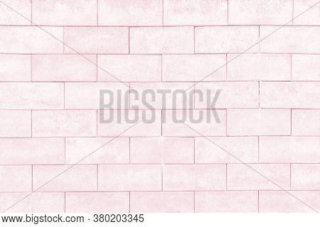 Cream Color Brick Wall Texture Background. Grunge Brickwork For Your Design Backdrop.