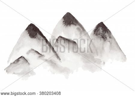 Black Traditional Chinese Ink Hand Drawn Foggy Mountains Illustration. Sketchy Mountain In Fog Isola