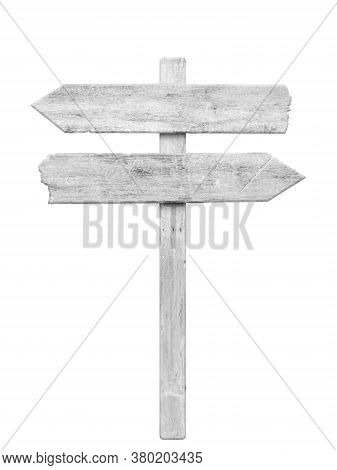 White Wood Arrow Signpost Isolated On White Background. Object With Clipping Path.