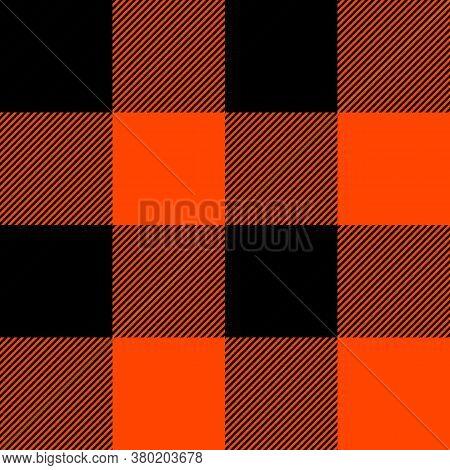 Tartan Plaid. Scottish Pattern In Black And Orange Cage. Scottish Cage. Traditional Scottish Checker