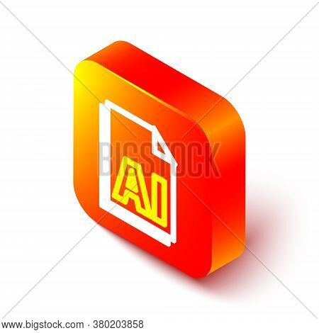Isometric Line Ai File Document. Download Ai Button Icon Isolated On White Background. Ai File Symbo