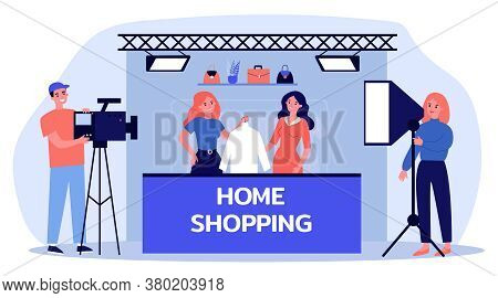 Home Shopping Shooting. Actress With Clothes, Camera Crew, Studio Flat Vector Illustration. Advertis