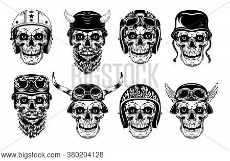Skulls In Biker Helmets Set. Motorcyclist Hats With Horns And Glasses, Monochrome Vintage Rock Symbo