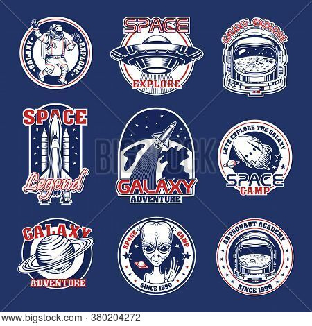 Space Patches Set. Retro Logos, Vintage Stamps With Shuttle, Spaceman, Astronaut, Extraterrestrial,