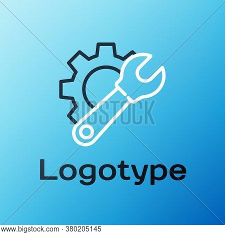 Line Wrench Spanner And Gear Icon Isolated On Blue Background. Adjusting, Service, Setting, Maintena