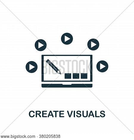 Create Visuals Icon. Simple Element From Game Development Collection. Filled Create Visuals Icon For