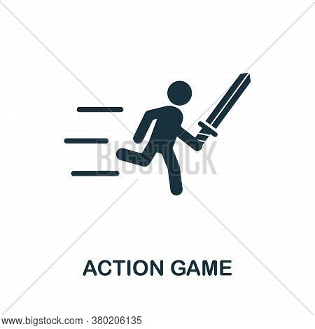Action Game Icon. Simple Element From Game Development Collection. Filled Action Game Icon For Templ