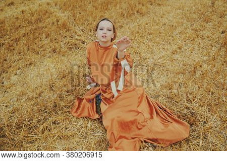 A Gorgeous Girl In A Long Dress Sits On A Wheat Field. Blonde Posing For Fashion Photo. Gentle Model
