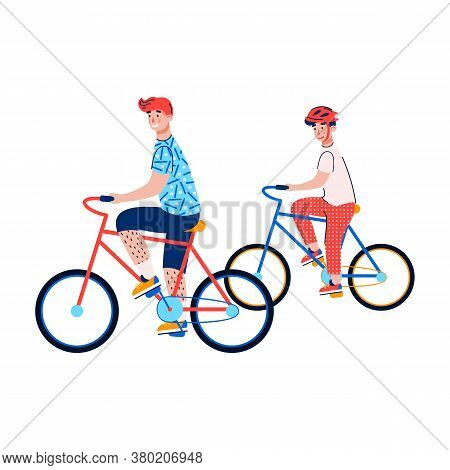 Two Boys Riding Bicycles Isolated On White Background. Cartoon Children Or Teenagers On Bike Ride To