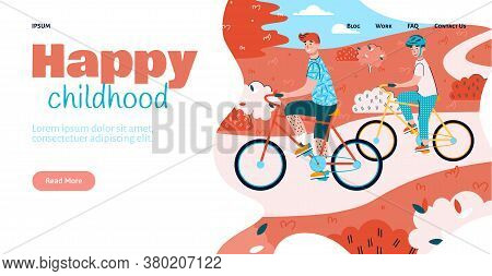 Happy Childhood Website Template With Family Cycling Together In Park, Flat Vector Illustration. Fam
