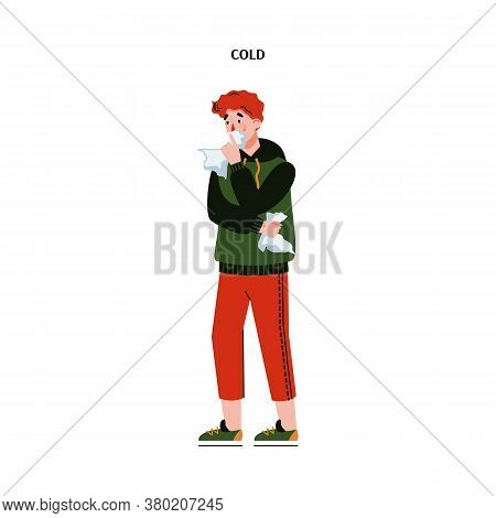 Man With Cold Or Flu Virus Symptoms Blowing His Nose On Tissue - Sick And Sad Cartoon Person Standin