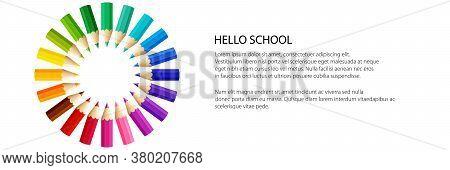 Gradient Crayon Sun Banner, Back To School Banner, Vector Illustration
