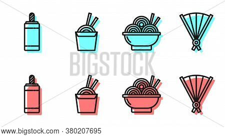 Set Line Asian Noodles In Bowl, Firework, Asian Noodles In Paper Box And Chopsticks And Paper Chines