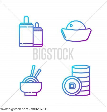 Set Line Chinese Yuan Currency, Asian Noodles In Bowl, Firework And Sushi. Gradient Color Icons. Vec