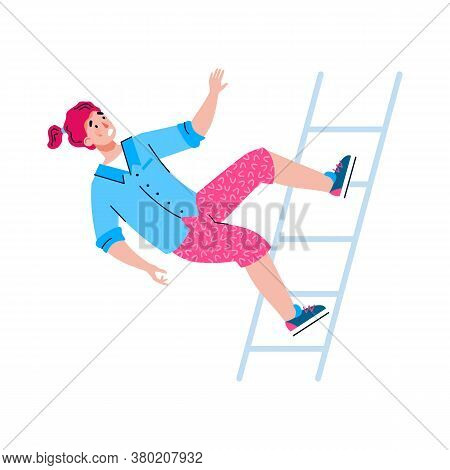 Shocked Young Woman Or Girl Is Falling Down From A Staircase. Concept Of Accident, Injury, Misfortun