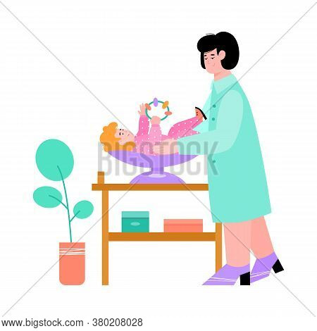 Pediatrist Doctor Conducting Medical Examination Of Newborn Child, Flat Vector Illustration Isolated