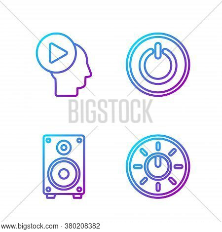 Set Line Dial Knob Level Technology Settings, Stereo Speaker, Head People With Play Button And Power